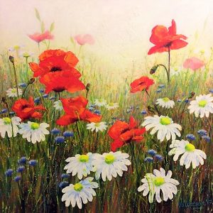 Poppies & Daisies (canvas print)